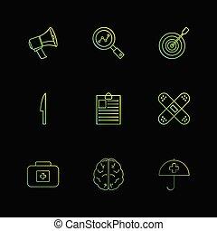 speaker , search , dart , knife , clipboard ,firstaid ,...