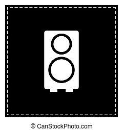 Speaker sign illustration. Black patch on white background. Isol