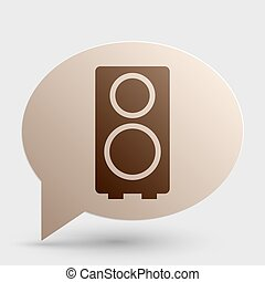 Speaker sign illustration. Brown gradient icon on bubble with shadow.