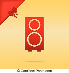 Speaker sign illustration. Cristmas design red icon on gold background.