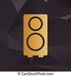 Speaker sign illustration. Golden style on background with polygons.