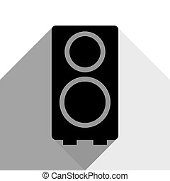 Speaker sign illustration. Vector. Black icon with two flat gray shadows on white background.