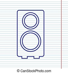 Speaker sign illustration. Vector. Navy line icon on notebook paper as background with red line for field.