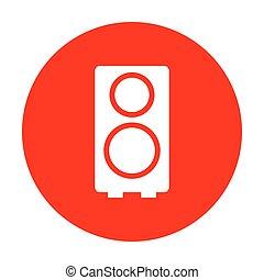 Speaker sign illustration. White icon on red circle.