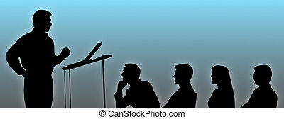 Silhouettes of conference speaker and listeners.