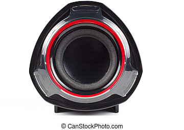 Speaker - Single black speakers with red circle isolated on...