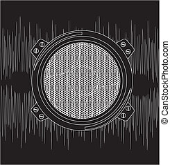 Speaker - speaker with sound over black background vector