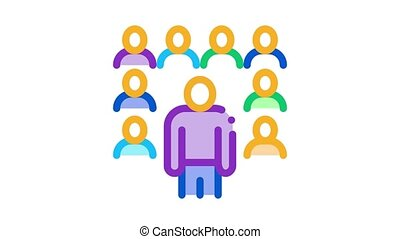 speaker standing before audience Icon Animation. color speaker standing before audience animated icon on white background