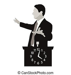 Speaker stands behind a podium with clock. Time Management....