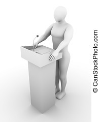 Speaker - One speaker at a conference with papers and a...