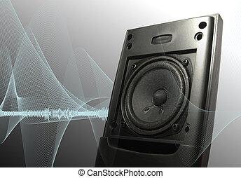 Speaker  - Towering speaker emitting sonic soundwaves