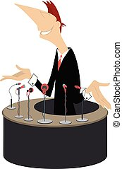 Speaker, tribune and microphones illustration - Smiling man...