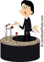 Speaker, tribune and microphones illustration - Woman makes ...