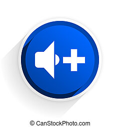 speaker volume flat icon with shadow on white background, blue modern design web element