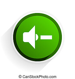 speaker volume flat icon with shadow on white background, green modern design web element