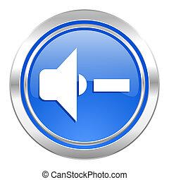 speaker volume icon, blue button, music sign