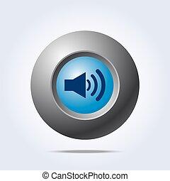 Speaker volume icon on blue button