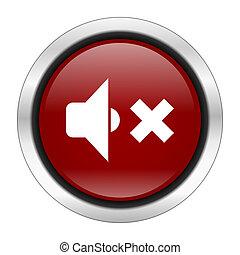 speaker volume icon, red round button isolated on white background, web design illustration