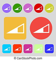 speaker Volume icon sign. 12 colored buttons. Flat design.