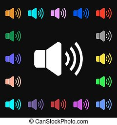 Speaker volume icon sign. Lots of colorful symbols for your design. Vector