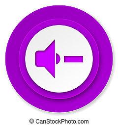 speaker volume icon, violet button, music sign