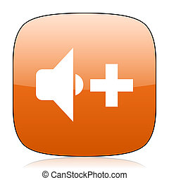speaker volume orange square web design glossy icon