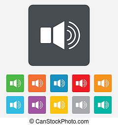 Speaker volume sign icon. Sound symbol. Rounded squares 11...