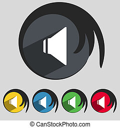 Speaker volume sign icon. Sound symbol. Set colourful buttons.