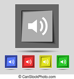 Speaker volume sign icon. Sound symbol. Set colourful buttons. Vector