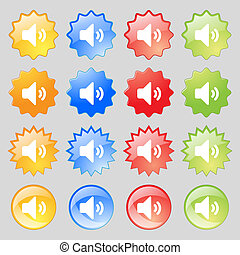 Speaker volume, Sound icon sign. Set from sixteen multi-colored glass buttons with place for text.