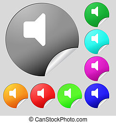Speaker volume, Sound icon sign. Set of eight multi-colored round buttons, stickers.