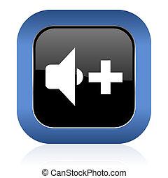 speaker volume square glossy icon music sign