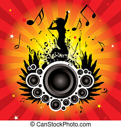 speaker wings - musical inspired image with radiating...