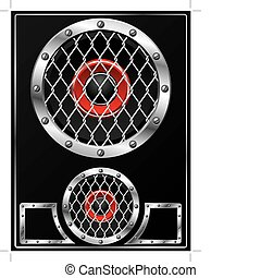 Speaker with grid design - Metallic speaker design with...
