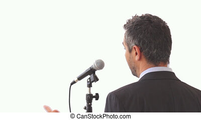 Speaker  with microphone on transparent background shot clip