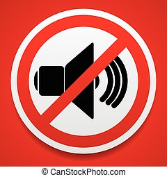 Speaker with probition sign. Silence, mute. Speaker with...