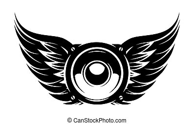 Speaker with wings. Elements for design. Monochrome vector illustration