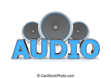 Speakers Audio - Blue - word Audio with three speakers in...