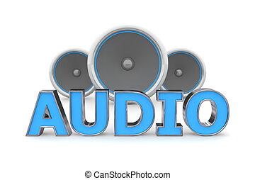 Speakers Audio - Blue - word Audio with three speakers in...