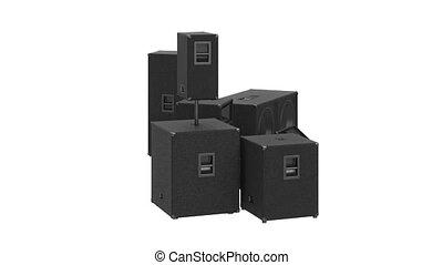 Speakers audio loud system modern black sound system, alpha...