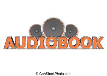 Speakers Audiobook - Orange - word Audiobook with three...