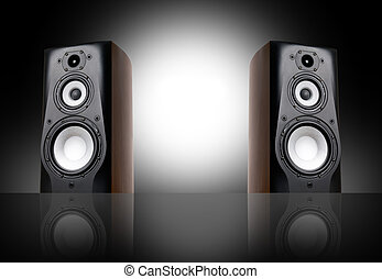 Black speakers on black background.