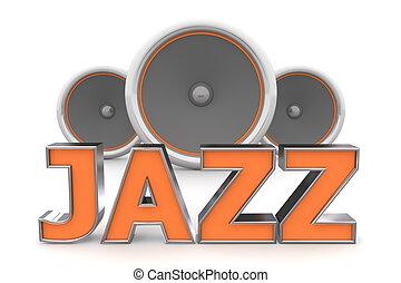 Speakers Jazz � Orange - word Jazz with three speakers in...