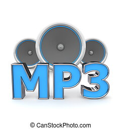 Speakers MP3 - Blue - word MP3 with three speakers in...