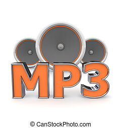 Speakers MP3 - Orange - word MP3 with three speakers in...