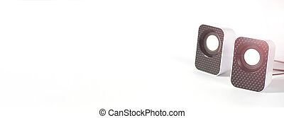Speakers on white isolated background