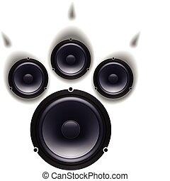 Speakers paw - Speakers animal paw set. Vector illustration...