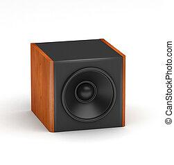 Speakers set - One red wooden soobwofer like speaker for hi-...