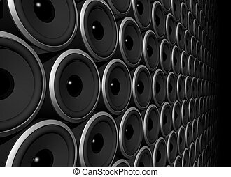 three dimensional speakers wall isolated on black