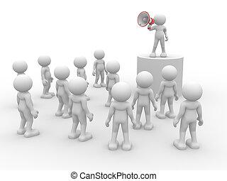 Speaking at megaphone - 3d people- human character speaking...